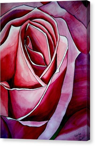 Pink Rose Macro Canvas Print by Sacha Grossel