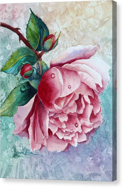 Pink Rose With Waterdrops Canvas Print