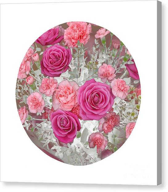 Pink Roses And Carnations In Circle Canvas Print by Rosemary Calvert