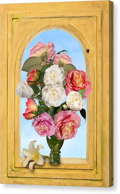 Pink Roses And White Peonis In Roemer In Open Niche Canvas Print