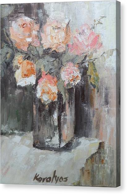 Pink Roses In A Vase Canvas Print by Maria Karalyos