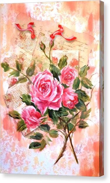 Pink Roses On Vintage Letters Canvas Print
