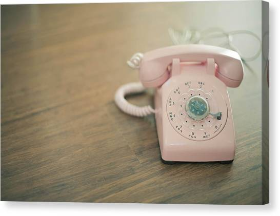Pink Rotary Telephone Canvas Print by Photo By Nicole Peattie, Photographer