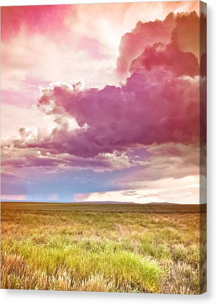 Thunderclouds Canvas Print - Pink Storm Clouds by Debi Bishop