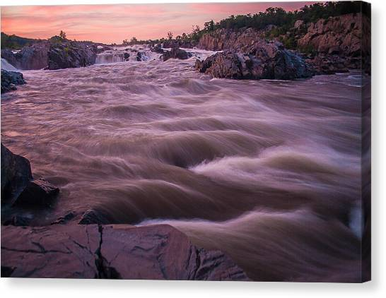 Waterfalls Canvas Print - Pink Sunset At Great Falls by Tony Delsignore