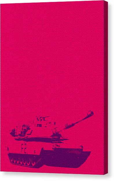Canvas Print featuring the mixed media Pink Tank by Michelle Dallocchio