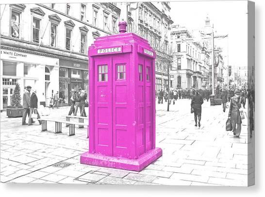 Tardis Canvas Print - Pink Tardis  by Rob Hawkins