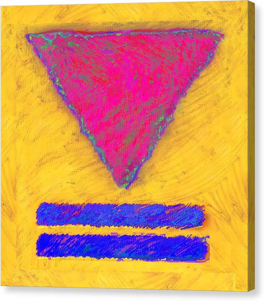 Pink Triangle On Yellow Canvas Print