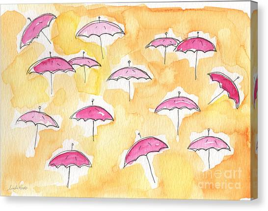 Whimsical Canvas Print - Pink Umbrellas by Linda Woods