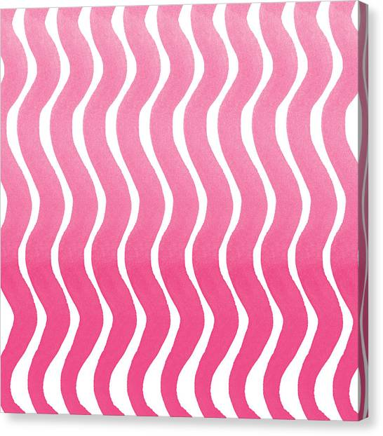 Pastel Canvas Print - Pink Waves- Abstract Watercolor Pattern by Linda Woods