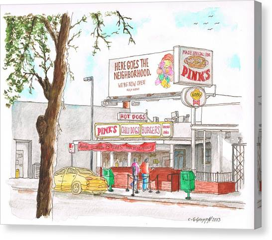 Pinks Chili Dogs, Hollywood, California Canvas Print