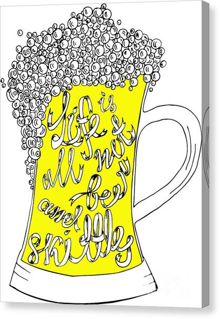 Pub Canvas Print - Pint With Hand Drown Inscription. Life by Ana Babii