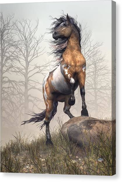 Draft Horses Canvas Print - Pinto by Daniel Eskridge