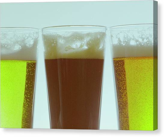 Pint Glass Canvas Print - Pints Of Beer by Romulo Yanes