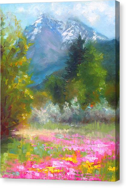 Shooting Stars Canvas Print - Pioneer Peaking - Flowers And Mountain In Alaska by Talya Johnson