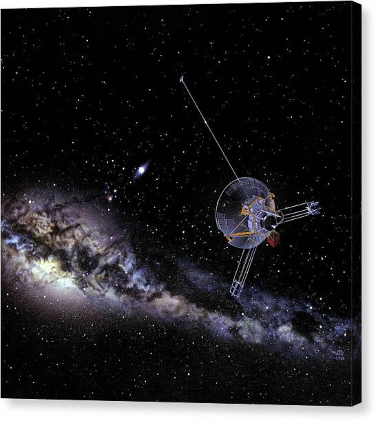 Pioneer Spacecraft In Interstellar Space Canvas Print by Nasa