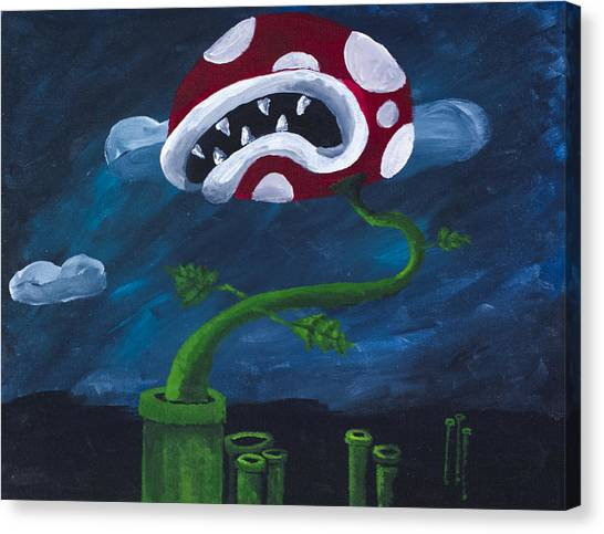 Wii Canvas Print - Pipe Piranha by Drew Rowe