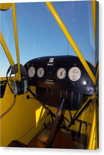 Piper Cub Dash Panel Canvas Print