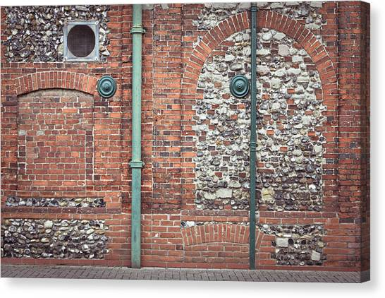 Drain Pipe Canvas Print - Pipes And Wall by Tom Gowanlock
