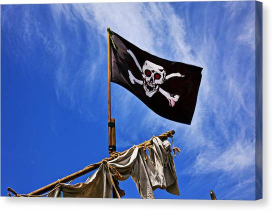Gay Flag Canvas Print - Pirate Flag On Ships Mast by Garry Gay