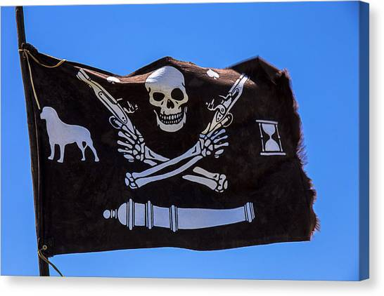 Terrorist Canvas Print - Pirate Flag With Skull And Pistols by Garry Gay