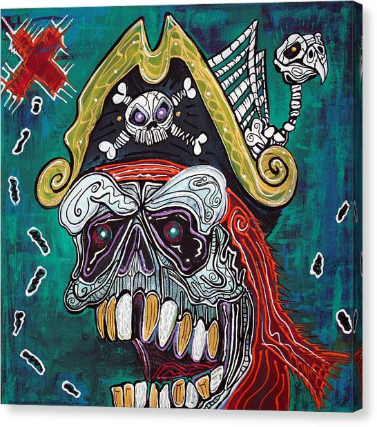 Buried Canvas Print - Pirate Treasure Map by Laura Barbosa