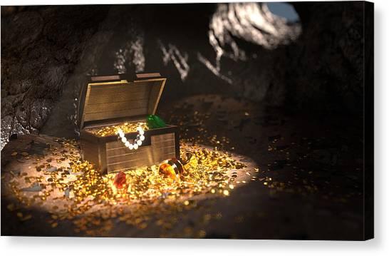 Fantasy Cave Canvas Print - Pirate Treasure by Shachar Har-Shuv