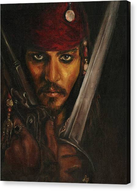 Orlando Bloom Canvas Print - Pirates- Captain Jack Sparrow by Lina Zolotushko