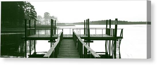 Pirate's Cove Pier In Monochrome Canvas Print