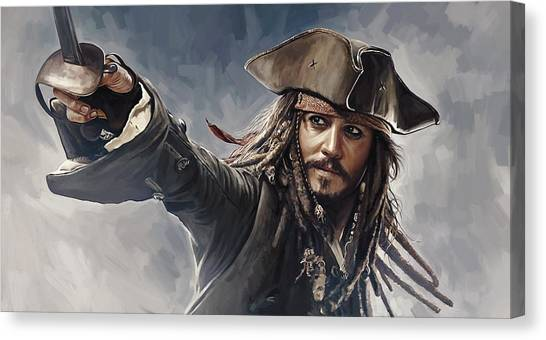 Johnny Depp Canvas Print - Pirates Of The Caribbean Johnny Depp Artwork 2 by Sheraz A