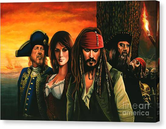 Flag Canvas Print - Pirates Of The Caribbean  by Paul Meijering
