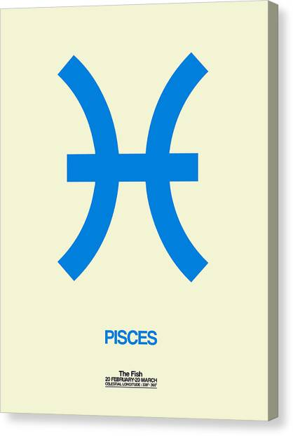 Signs Canvas Print - Pisces Zodiac Sign Blue by Naxart Studio