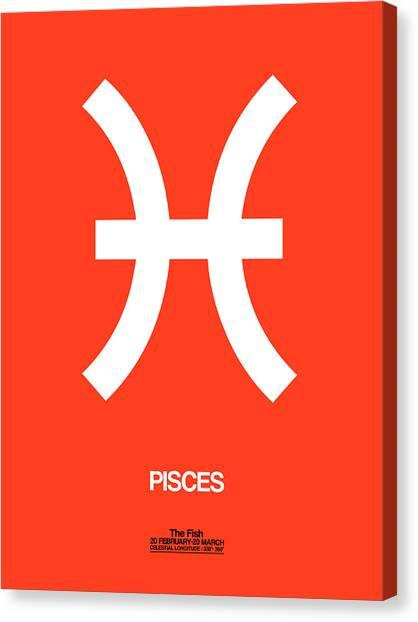 Signs Canvas Print - Pisces Zodiac Sign White by Naxart Studio