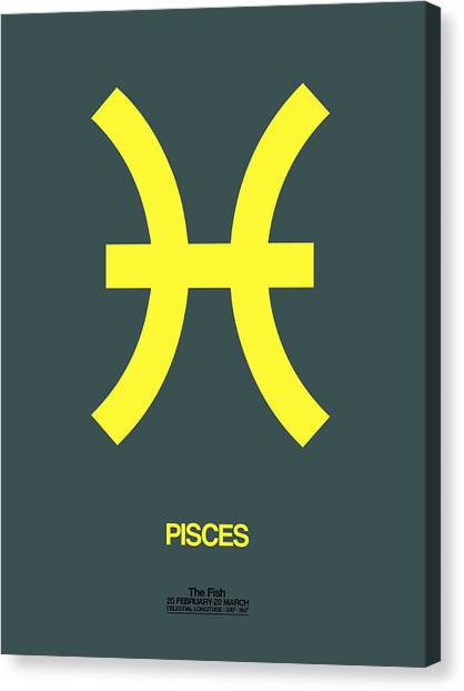Canvas Print - Pisces Zodiac Sign Yellow by Naxart Studio