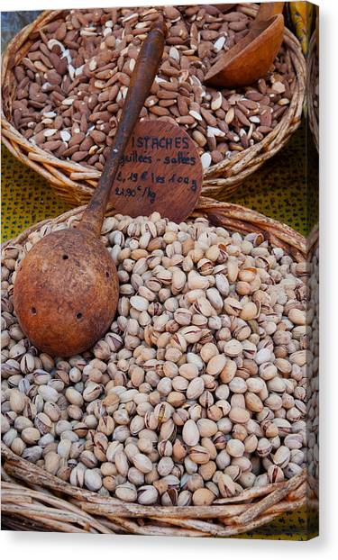 Dried Fruit Canvas Print - Pistachios For Sale At Weekly Market by Panoramic Images