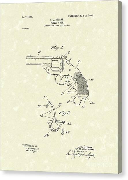 1904 Canvas Print - Pistol Grip 1904 Patent Art by Prior Art Design