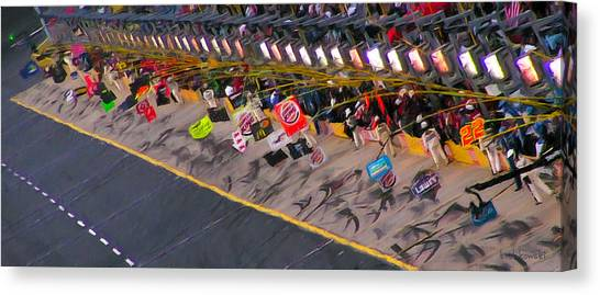 Daytona 500 Canvas Print - Pit Road by Kenneth Krolikowski