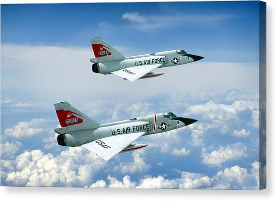 Pitching Darts F-106 2-ship Canvas Print by Peter Chilelli