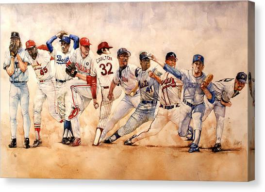 Baseball Canvas Print - Pitching Windup  by Michael  Pattison