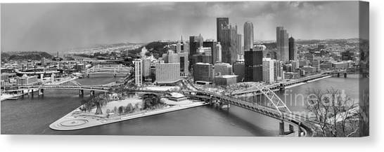 Pittsburgh Black And White Winter Panorama Canvas Print