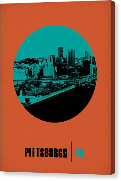Pennsylvania Canvas Print - Pittsburgh Circle Poster 1 by Naxart Studio