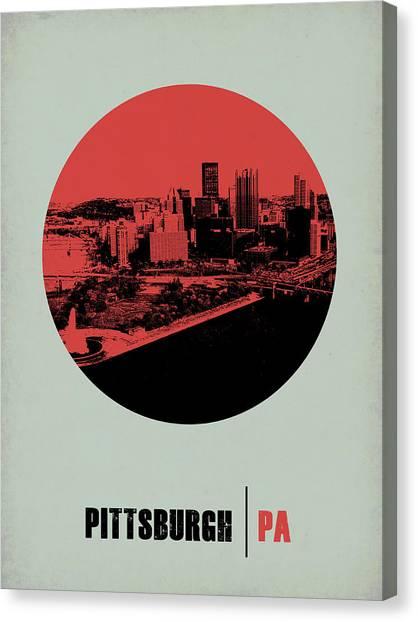 Pennsylvania Canvas Print - Pittsburgh Circle Poster 2 by Naxart Studio