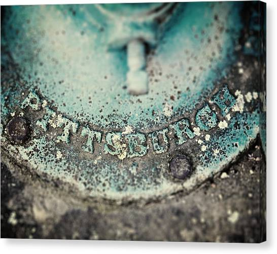 Pittsburgh Pirates Canvas Print - Pittsburgh In Teal Relief On A Vintage Water Pump by Lisa Russo