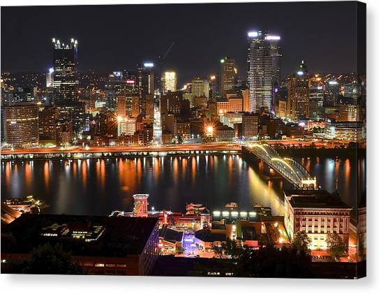 Roberto Clemente Canvas Print - Pittsburgh Over The Monongahela by Frozen in Time Fine Art Photography