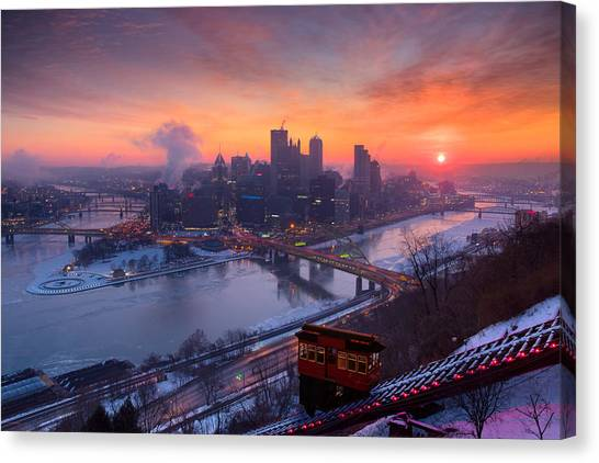 Pittsburgh Skyline Winter 2 Canvas Print