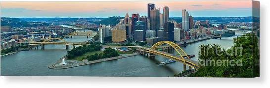 Pittsburgh Panorama At Dusk Canvas Print