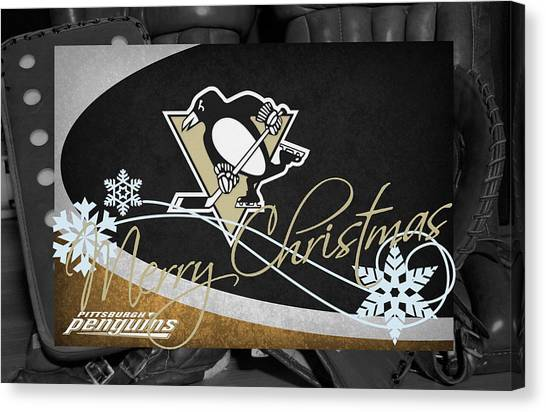 Penguins Canvas Print - Pittsburgh Penguins Christmas by Joe Hamilton
