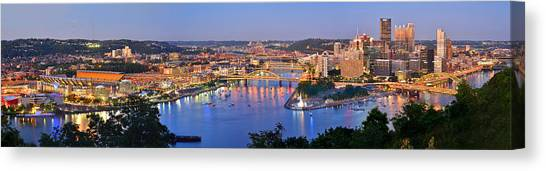 Evening Scenes Canvas Print - Pittsburgh Pennsylvania Skyline At Dusk Sunset Extra Wide Panorama by Jon Holiday
