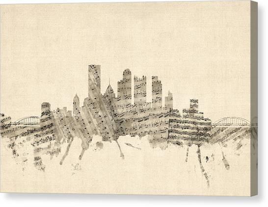 Sheet Music Canvas Print - Pittsburgh Pennsylvania Skyline Sheet Music Cityscape by Michael Tompsett