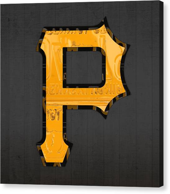 Pittsburgh Pirates Canvas Print - Pittsburgh Pirates Baseball Vintage Logo License Plate Art by Design Turnpike